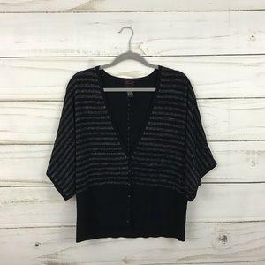 Torrid Black Silver Stripe Button Sweater Cardigan